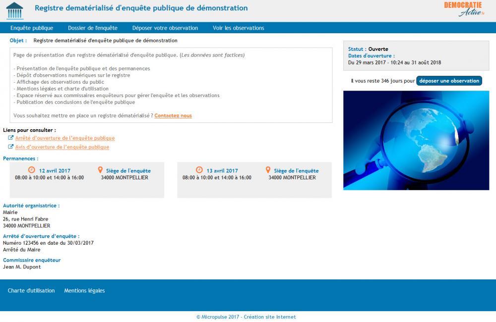 Affichage registre dématérialisé