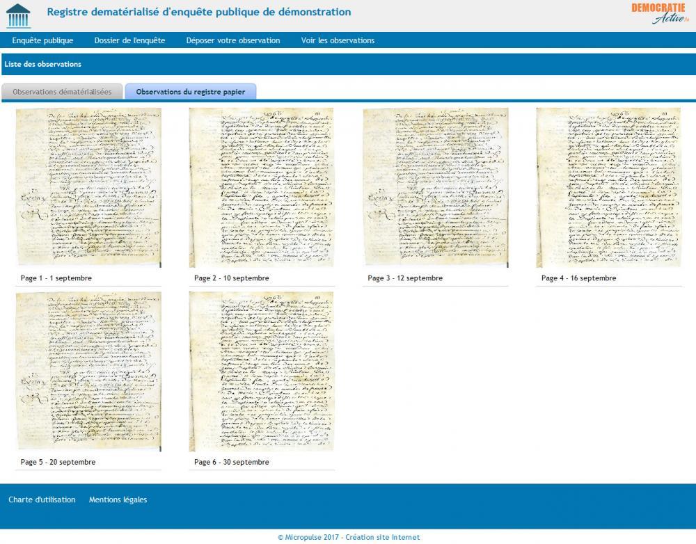 Importation des observations du registre papier